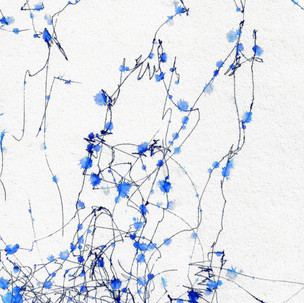 abstract wind machine drawing blue ink with raindrops