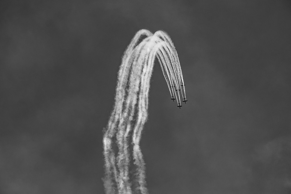 Australian Air Force Roulettes performing in PC-21 aircraft over Canberra, Australia