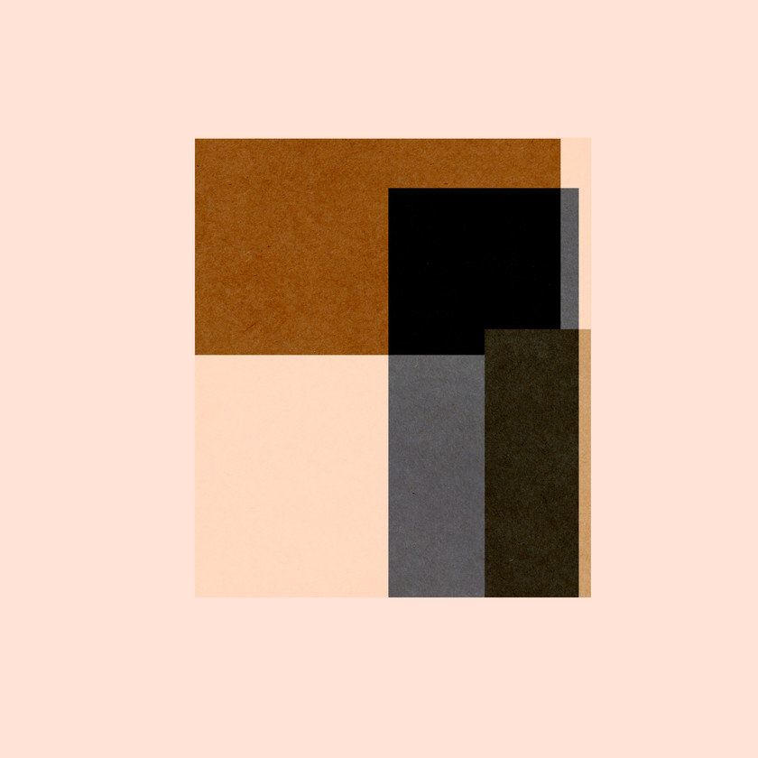 Colored rectangles in a square design on a pink background