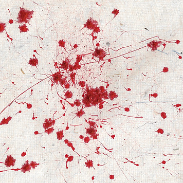 wind drawing machine red ink on hand made paper