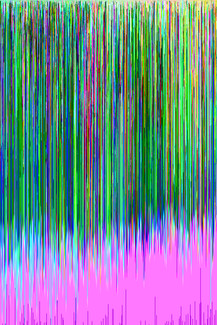 green and pink datamosh glitch art hex editing