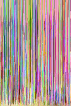 hex editing glitch art yellow and pink and blue