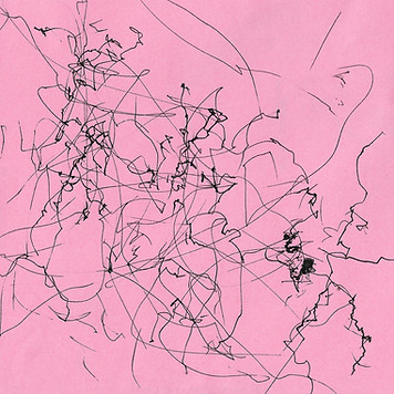 abstract black ink on pink paper wind machine drawing