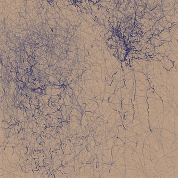 blue ink abstract wind drawing art