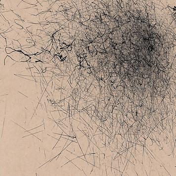 wind machine sketch in black ink on brown paper