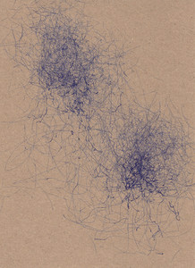 wind drawing machine art in blue ink on card