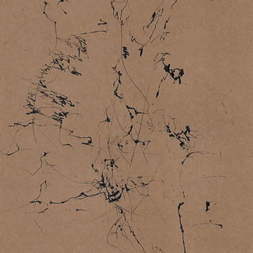 abstract wind machine drawing on brown cardboard
