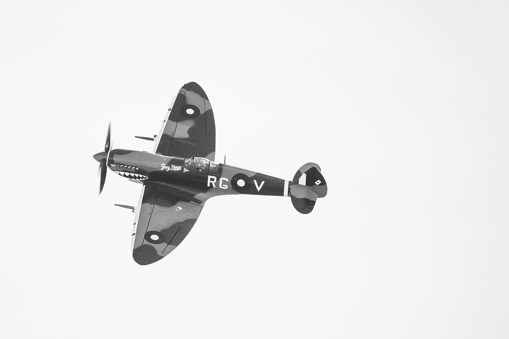 The Supermarine Spitfire MkVIII photographed in black and white by Megan Kennedy