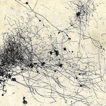 1428 minutes NW 38.9 km/h Black ink on handmade paper 14.8 x 16.8 cm approx