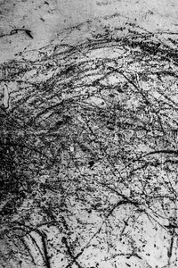 Black and white photograph of incidental markings on an urban space