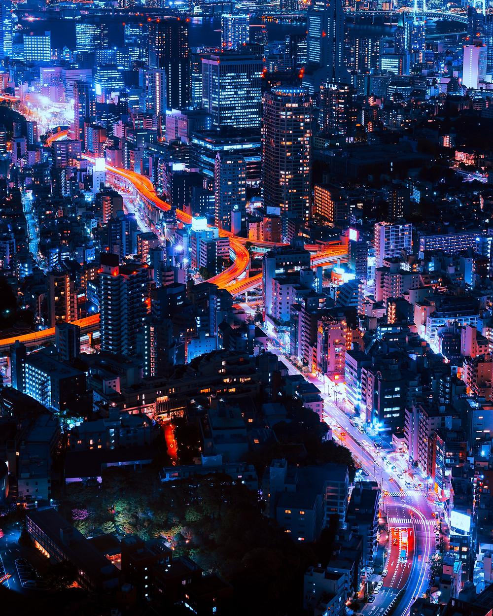 City night with traffic