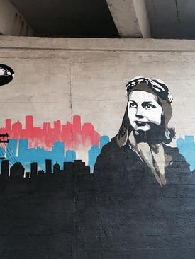 Close up of a stencil mural in Riga duri