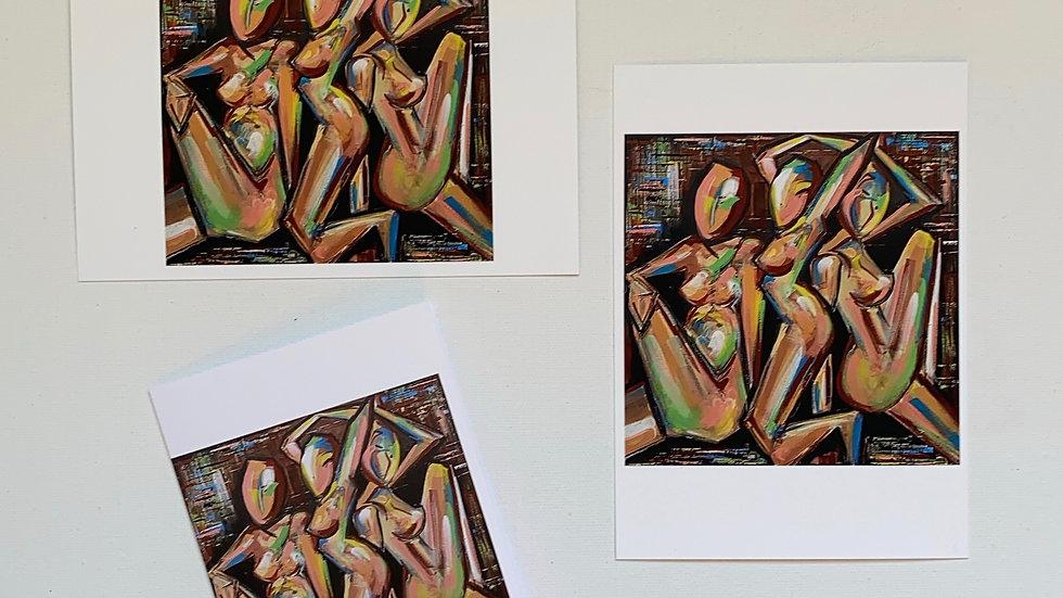 """Three Women"" prints and mini Greeting Card"