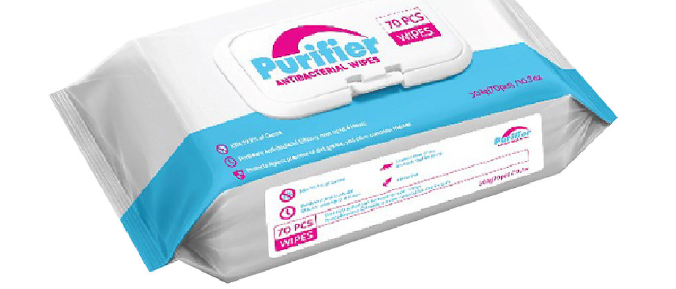 Antibacterial Wipes - 70 pcs per pouch