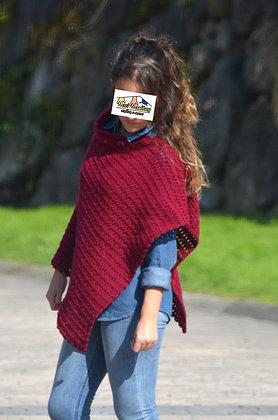 Poncho corto lana GRANATE (Ref. A010)