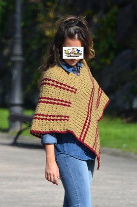 Poncho corto lana BEIGE RAYAS (Ref. A011)