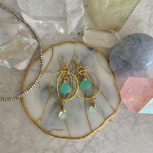 Aqua Chalcedony & Prehnite Gold Hoops