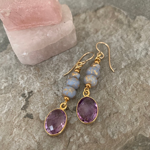 14k Gold & Purple Amethyst