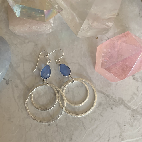 Blue Chalcedony Brushed Silver Hoops