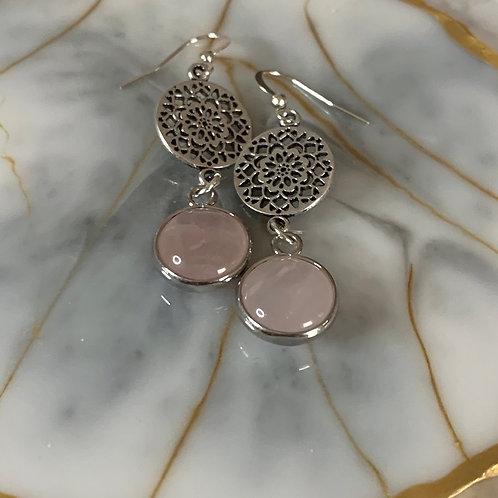 Silver Dahlia Rose Quartz