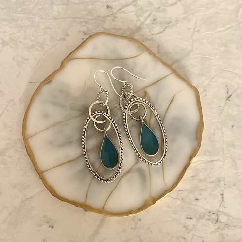 Silver Oval Peacock Green Drop