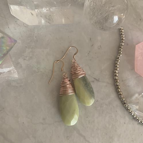 Rose Gold Green Opal Drops