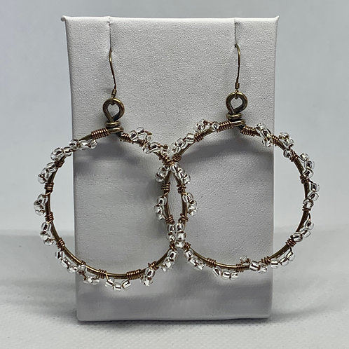 Brass Hoops with Silver Twists