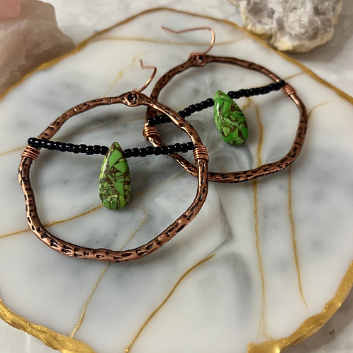 Double Copper Turquoise Hoops