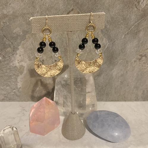 Swarovski & Onyx Golden Floral