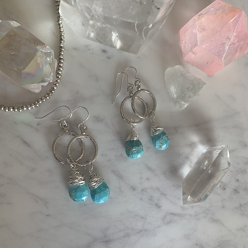 Natural Turquoise Silver Hoops