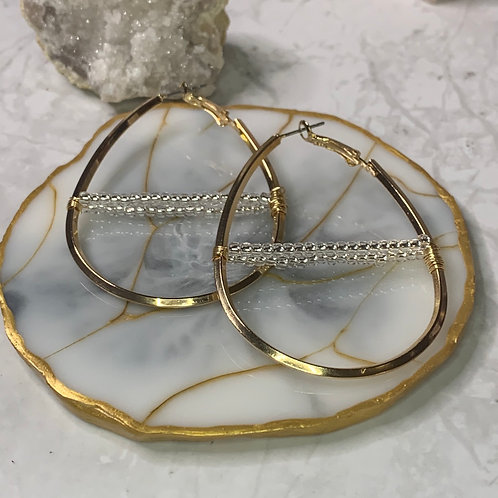 Gold Pear Hoops with Silver Beads