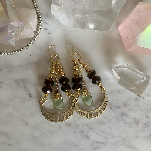 Dreamy Glam Brass Moon Phase Crescents