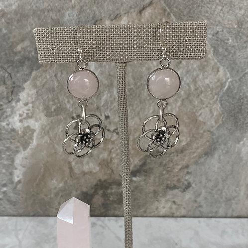 Rose quartz Silver Hibiscus