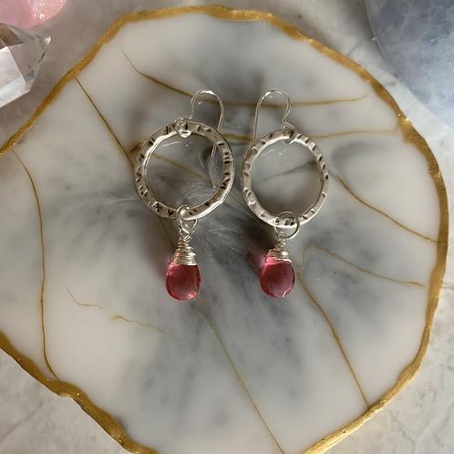 Micro Pink Tourmaline Hoops
