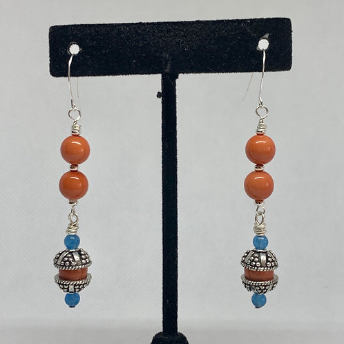 Coral Silvery Dangles