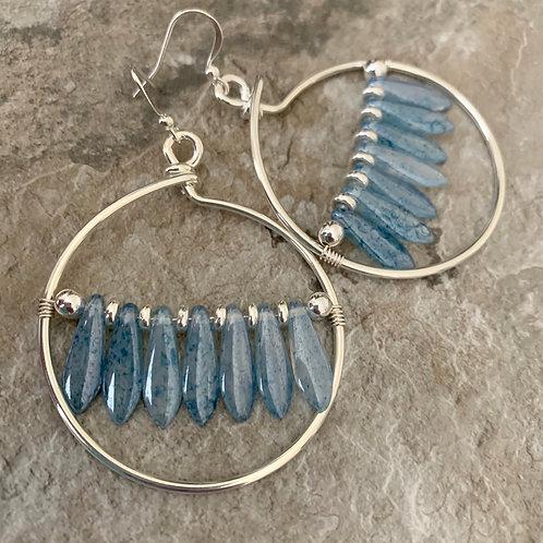 Silver Blue Hoops