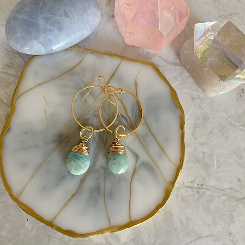 Amazonite Rings of Gold