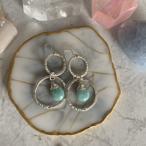 Hammered Silver Amazonite Stack Hoops