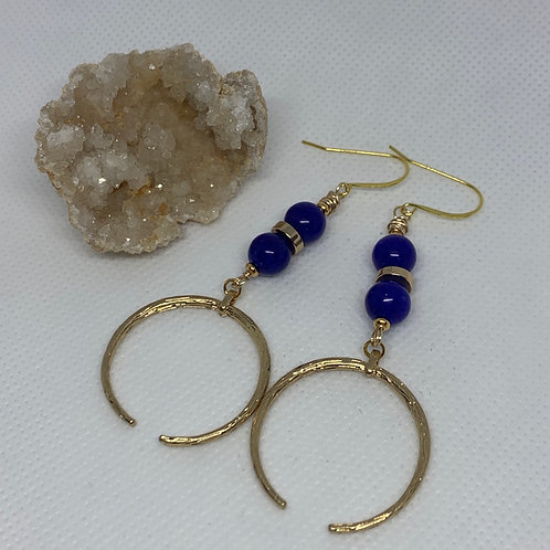 Double Gemstone Lapis with Gold Focal