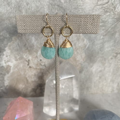Golden Wrapped Amazonite Drops