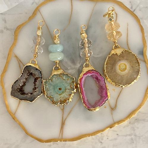 Gold Agate Druzy Pendants