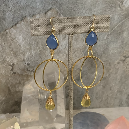 Blue Chalcedony Citrine Lux Hoops