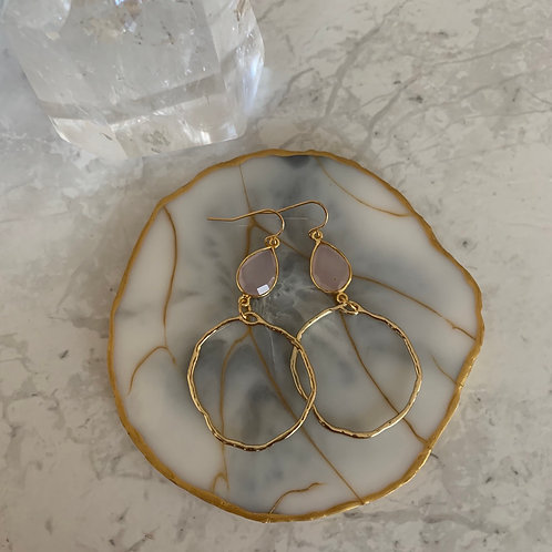 Rose Quartz Edgy Hoop