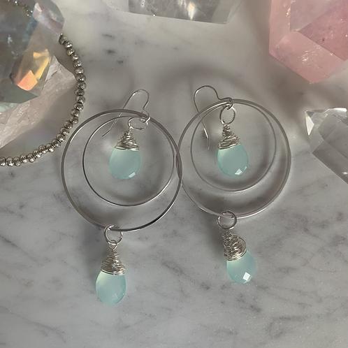 Aqua Chalcedony Silver Glow Hoops