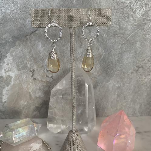 Sterling Silver Citrine Crystal Teardrops