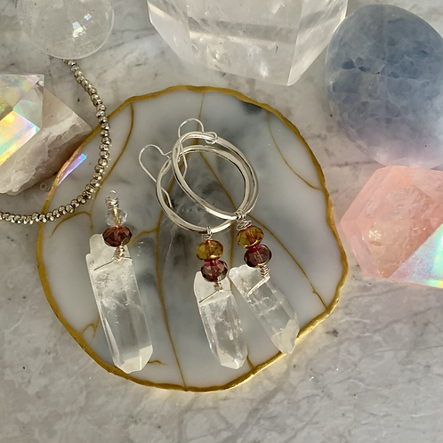 Crystal Quartz Hoop & Pendant Set