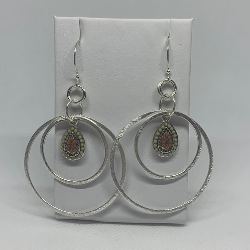 Silver Circles with Natural Drop Pendant