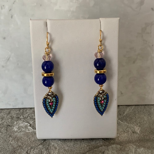 Lapis Beaded Drop