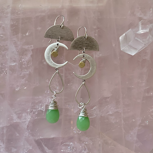 Brushed Silver Moon  & Green Chalcedony