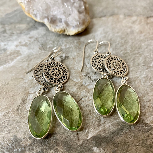 Sterling Dahlia with Green Amethyst
